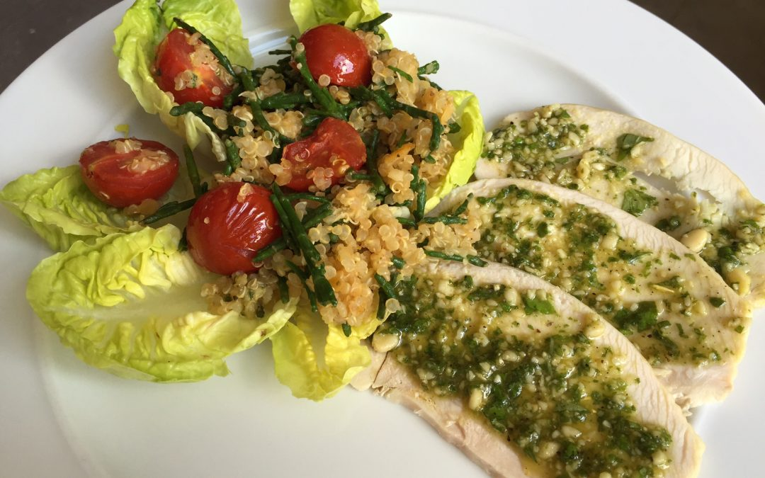 Turkey with homemade pesto – quick and delicious!