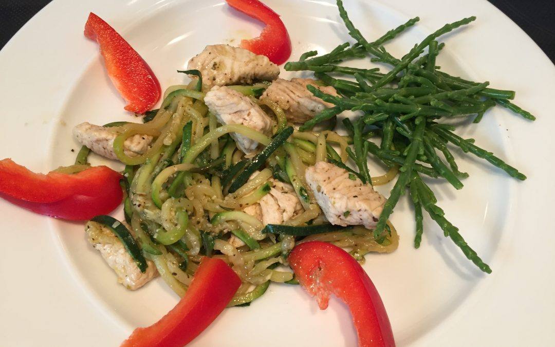 Turkey with zoodles and samphire Italian style
